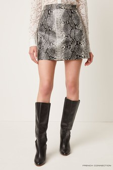 French Connection Grey Elias Pleather Reptile Mini Skirt