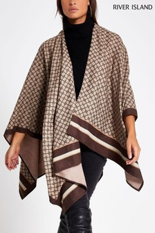 River Island Brown Print Margret Classic Mono Cape