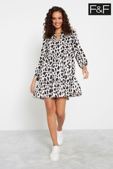 F&F Multi Non Print Cow Swing Tier Dress