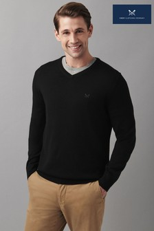 Crew Clothing Company Black Merino V-Neck Jumper