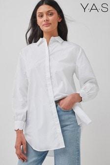 Y.A.S Organic Cotton White Poplin Oversized Shirt