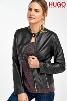 HUGO Black Lurana Leather Jacket