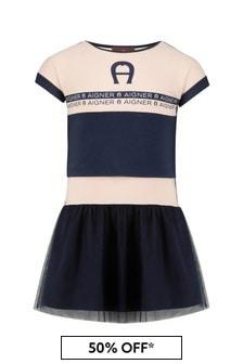Aigner Girls Navy Cotton Dress