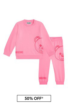 Moschino Kids Baby Girls Pink Cotton Tracksuit