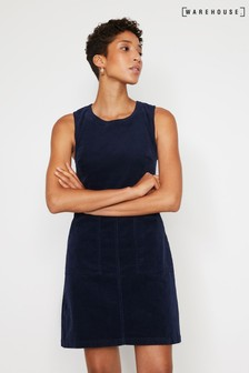 Warehouse Blue Cord Pinafore Dress