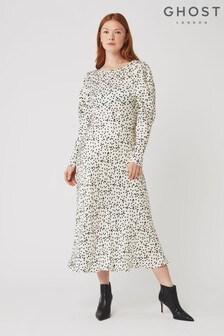 Ghost London White Rosaleen Spot Print Satin Dress