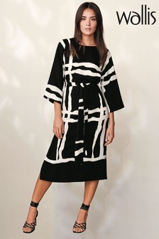 Wallis Monochrome Check Midi Dress