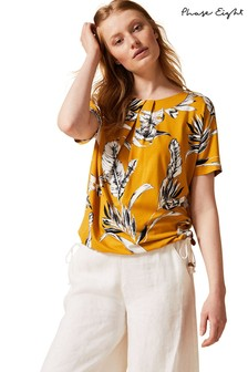 Phase Eight Yellow Lalita Palm Printed T-Shirt