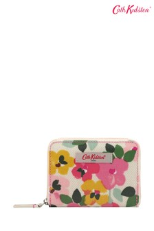 Cath Kidston® Cream Large Painted Pansies Mini Continental Zip Wallet