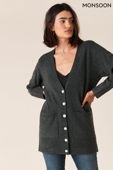 Monsoon Charcoal Pearly Button Knit Cardigan
