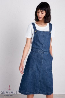 Sesalt Petite Indigo Scots Pine Pinafore Dress