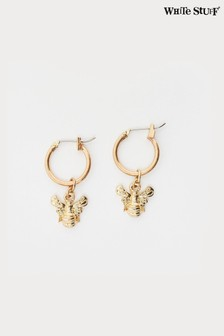 White Stuff Metallic Bee Hoop Earrings