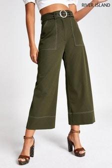 River Island Khaki Stitch Wide Trousers