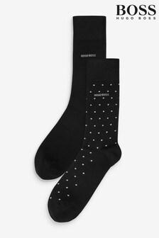 BOSS Black Plain And Polka Dot Socks Two Pack Gift Set