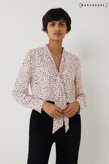 Warehouse Pink Polka Dot Tie Neck Blouse