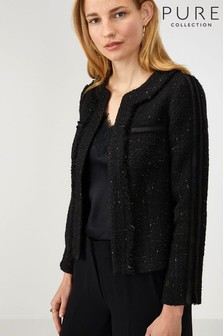 Pure Collection Black Fringed Tweed Jacket