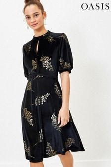 Oasis Black Foil Floral Velvet Dress