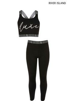 River Island Black Luxe Crop Top And Leggings Set
