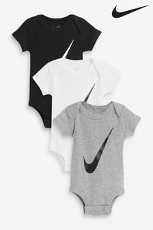 Nike Baby Black/White/Grey Sleepsuits 3 Pack