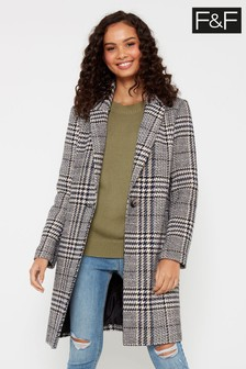F&F Multi Check Denim Coat