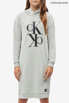 Calvin Klein Grey Jeans Mini Monogram Hoody Dress