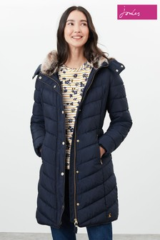 Joules Blue Cherington Chevron Longline Padded Coat