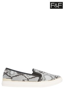 F&F Double Gusset Snake Effect Shoes