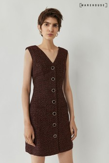 Warehouse Purple Tweed Button Through Pinafore Dress