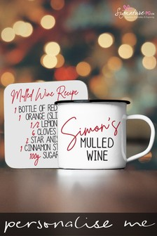 Personalised Mulled Wine Mug And Coaster Set by Signature PG