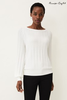 Phase Eight Cream Sheri Ribbed Jumper