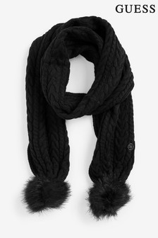 Guess Cable Knit Pom Scarf