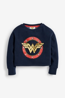 Wonder Woman Licence Sequin Crop Crew Sweater (3-16yrs)