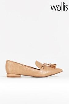 Wallis Bethany Natural Tassle Point Flat Shoes