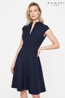 Damsel In A Dress Blue Tansie Short Sleeve Dress