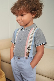 Vertical Stripe Knitted Polo (3mths-7yrs)