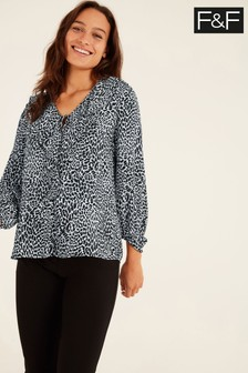 F&F Mono Chrome Ruffle Blouse