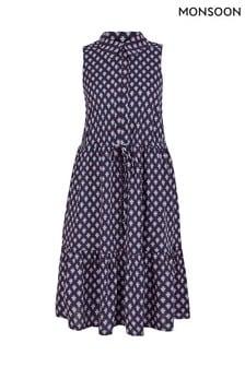 Monsoon Blue Short Geo Jersey Shirt Print Dress