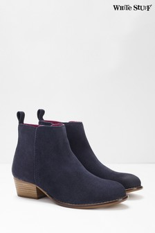 White Stuff Blue Eliza Cuban Heel Ankle Boots