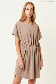 French Connection Brown Tamina Satin Mix Dress