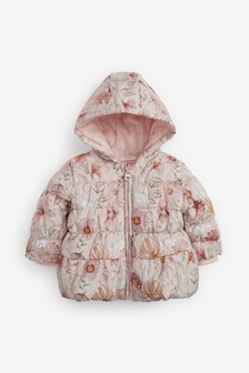 BNWT NEXT Baby Girls Ochre Floral Print Padded Winter Coat 3-6 Months