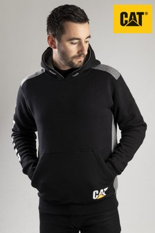 CAT® Black Logo Panel Hooded Sweatshirt