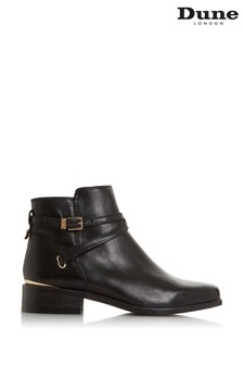 Dune London Peper Black Leather Gold Trim Ankle Boots