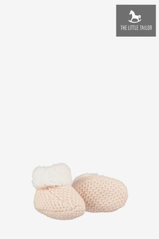 The Little Tailor Soft Pink Knitted Plush Lined Booties