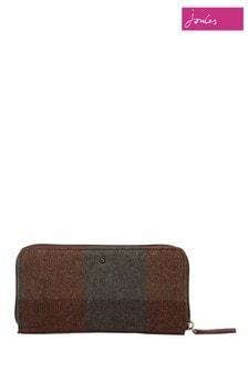 Joules Green Fairford Tweed Zip Around Purse