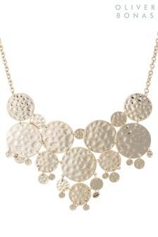 Oliver Bonas Gold Tone Nino Hammered Disc Collar Necklace
