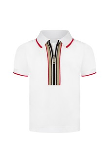 Burberry Kids Baby Boys White Cotton Polo Top
