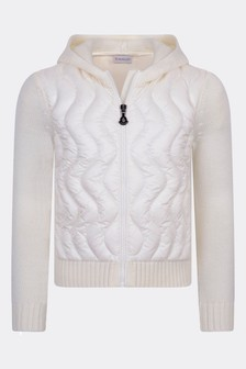 Moncler Enfant Girls Ivory Wool Zip Up Top