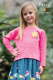 Frugi Organic Boxy Top In Pink With Star And Rainbow Design
