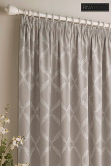 Olivia Linen Look Lattice Print Pencil Pleat Curtains by Riva Home