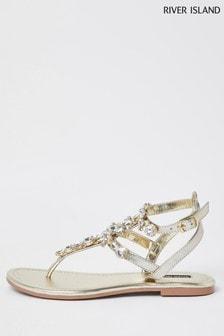 River Island Gold Gem Caged Sandals